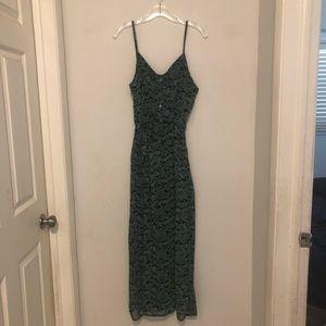 Papaya Maxi Green/Black Print Dress Size L